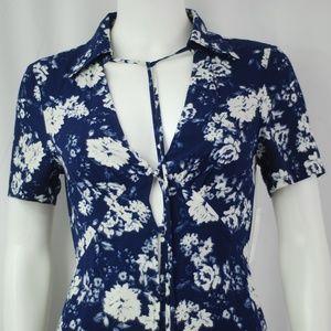 NWT Navy & White Floral Sun Dress Sz S